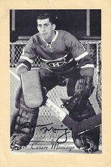 1944-63 NHL Beehive Hockey Photo / Group II - CESARE MANIAGO (Goalie) - Autographed Hockey Card (Montreal Canadiens) (#265) (Baseball Autographs Football Coins) Tags: hockey beehive 1934 1967 19341967 groupi groupii groupiii woodgrain torontomapleleafs bostonbruins newyorkrangers montrealcanadiens chicagoblackhawks detroitredwings montrealmaroons newyorkamericans card photos hockeycards brooklynamericans cesaremaniago goalie nhl nationalhockeyleague