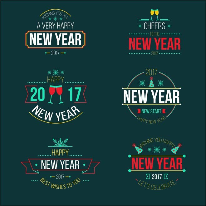 free vector happy new year 2017 labels badges cgvector tags 2017calendar