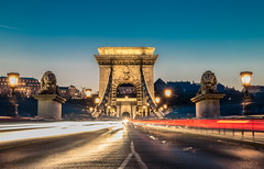 Chain bridge at blue hour (Vagelis Pikoulas) Tags: bridge budapest buda light lights lions blue hour sky long exposure canon 6d tokina 2470mm view cars traffic city hungary europe cityscape travel photography november 2016 autumn night