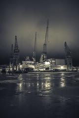 Helsinki - F/1.4 (Edgar Myller) Tags: f14 14 aperture wide open sigma 35 35mm mm art series lense prime helsinki nosturi capital ship night yö lights black white bw blackwhite