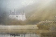 Morning (BirgittaSjostedt) Tags: fantasy creation castle fairytale tale lake swan haze sunrays landscape paint mist birgittasjostedt