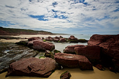 View North from Long Beach (jack eastlake) Tags: seascape ben boyd national park pambula far south coast nsw bega valley rocks red geology platforms salmon fish fishing winter time eden