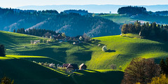 Buur uf em Heiwäg - Chüebärg u Bütschwil (uhu's pics) Tags: landscape landschaft hills field forest trees farm tractor green spring frühling grün häuser traktor wald bäume felder wiese bauernhof hügel 90mmf2 xp2 xpro2 xpro fujinon fuji fujifilm