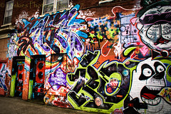Writings on the Wall (HWW) (13skies) Tags: happywallwednesday hww graffiti colour color painting words images faces letters wall green blue orange white red purple streetart
