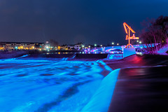 Light Party (tquist24) Tags: hdr nikon nikond5300 southbend southbendriverlights stjosephriver city dam geotagged lights longexposure night reflection reflections river sculpture spillway water indiana unitedstates