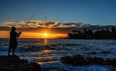 Poipu Fisherman at Sunset (drpeterrath) Tags: canon eos5dsr 5dsr poipu kauai hawaii ocean water pacific pacificocean seascape landscape sun sky bluesky blue silhouette color male man outdoor sunset