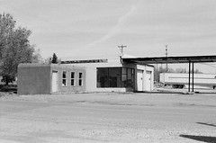Corona New Mexico (DanJBailey) Tags: filmisnotdead film ae1 ae1program canonae1 canon 35mm desert road street lonely unitedstates america usa southwest lincolncounty 575 newmexico nm mono monochrome bw blackandwhite abandoned empty ghosttown town