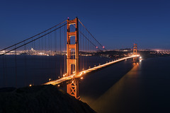 Golden Gate Bridge (andre adams) Tags: bridge sunset travel buildings urban architecture cityscape lights traffic longexposure perspective cinematic bluehour citylights nightscape marinheadlands california sanfrancisco batteryspencer goldengatebridge twinpeaks
