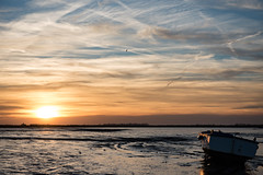 ferry sunset-0764 (red9r67) Tags: night sun sunset ship boat shimmer blue orange quiet ferry felixstowe estuary coast mudflats clouds contrail chemtrail trail glow evening space open river ocean water