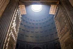 Shining (jev55) Tags: nikon rome italy shining pantheon light ceiling stone ancient tourist doors busy history