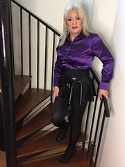 Time to show the skirt! (Sissy kaylah) Tags: wolford blackminiskirt blacktights transvestite trans tranny deluxesatin satin purple satinblouse blonde makeup tgirl rubbermini latex drag tgurl