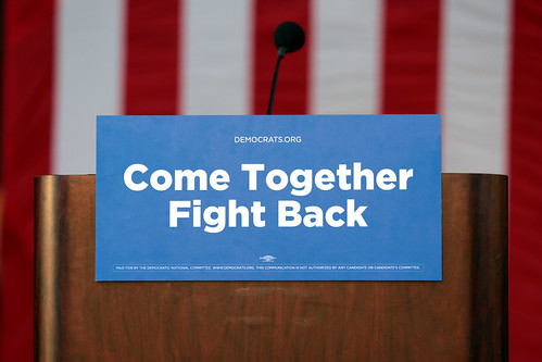 Democratic National Committee podium by Gage Skidmore, on Flickr