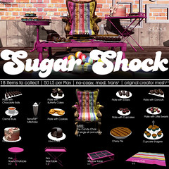 22769 - Sugar Shock for The Gacha Garden : May2017 (manuel ormidale) Tags: 22769 tgg thegachagarden gacha food chocolate candies eclairs pouf chair gums cake chocolatecake flowercake colorful slfood cupcakes cookies furniture table pinkfurniture pink candypouf candychair pacopooley bauwerk 22769~bauwerk meekashitu gimmegacha