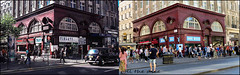 Oxford Circus `1979-2017 (roll the dice) Tags: london w1 westminster westend oxfordstreet exit tube underground sad mad people rush sale bargain shops shopping fashion travel tfl transport streetfurniture architecture tourism canon old retro bygone nostalgia comparison oldandnew pastandpresent hereandnow roundel cigarettes taxi cab traffic vanished closed demolished local history stage theatre publichouse boozer beer ale wine pint drinking nicholsons trees advertising changes tourists collection map terracotta bra