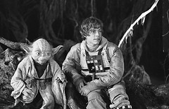Yoda and Mark Hamill (Tom Simpson) Tags: starwars behindthescenes film dagobah vintage movie theempirestrikesback empirestrikesback yoda markhamill lukeskywalker muppet puppet puppeteer