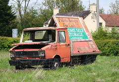 LEYLAND DAF SHERPA 200 (shagracer) Tags: cars abandoned rotting car work dead rust paint flat rusty billboard mat faded forgotten vehicle rusting van wreck dying sherpa flaky dull decaying tyres leyland flatbed stood unloved daf oxide laidup
