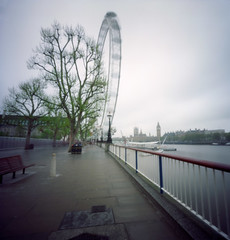 Run! (Zeb Andrews) Tags: uk england urban london 6x6 film thames analog square cityscape lofi overcast pinhole ferriswheel zero2000 theeye zeroimage zeroimagepinhole zeroimage2000 woodencameras