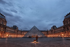 First in line at the Louvre (Shuo Photography) Tags: city light sky paris france reflection building castle art history water beautiful museum architecture modern night french landscape reflecting golden evening twilight pond europe european cityscape place pyramid louvre famous entrance dramatic landmark palace exhibition historic chateau