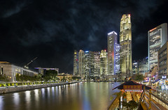 Singapore Central Business District at Boat Quay (David Gn Photography) Tags: old city travel blue houses sky reflection tourism water shop skyline night clouds skyscraper buildings river lights hotel evening office singapore asia cityscape waterfront view dusk district towers sightseeing central scenic restaurants bank landmark casino historic business entertainment hour esplanade promenade area cbd riverfront nightlife southeast financial boatquay preservation singaporeriver pernakan marinabaysands