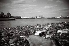 Lomo wannabe (tripowski) Tags: blackandwhite london film beach water thames river mono lomo lca kodak trix greenwich o2 ground lomolca dome kodaktrix analogue riverthames millenniumdome blackandwhitefilm