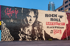Joan Jett Mural (Viajante) Tags: art wall austin us mural texas unitedstates obey shepardfairey joanjett