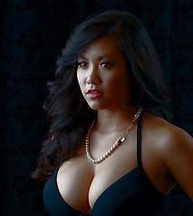 Head Shot Revisited (Lorne Thomas) Tags: california b woman girl losangeles nikon boobs bra bust asiangirl pearlnecklace blacklingerie nikkor50mmf18g nikond800e
