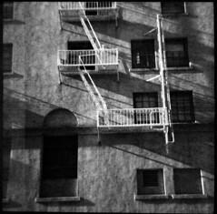 d016-fireescape (melissssaf) Tags: california blackandwhite building film window fire losangeles escape diana