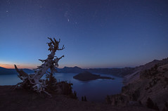 Twilight (TheFella) Tags: travel blue sky usa lake tree slr nature night oregon digital america sunrise stars landscape island photography dawn lights star volcano us photo nationalpark twilight nikon unitedstates space unitedstatesofamerica fineart hill peak astro hills nighttime photograph crater caldera astrophotography processing pacificnorthwest northamerica craterlake nightsky states bluehour peaks dslr volcanic cosmos wizardisland constellation d800 postprocessing st