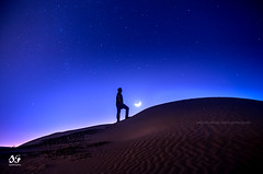 """Keep your eyes on the stars, and your feet on the ground"" - Theodore Roosevelt (sajansworld) Tags: blue moon night stars dubai alone desert"