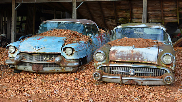autumn fall abandoned buick cadillac classiccars 1957buickcentury 1950scadillacsedandeville