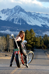 Holly Edited (Nathan Greninger) Tags: road red mountains cute sexy chopper flames models rocky harley jeans chrome hardcore western motorcycle biker slope