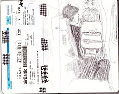 Travelling by plane (kristelArt) Tags: travel moleskine train linz tickets austria airport sketchbook linedrawing chekin travelsketching urbansketching traveldrawing