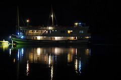 At anchor for the night (Halong Bay, Vietnam) (armxesde) Tags: reflection night bay ship pentax vietnam spiegelung halongbay k5 bucht halongbucht vịnhhạlong mygearandme mygearandmepremium