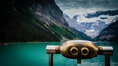 Lake Louise Through The Looking Glass.jpg (Darren Berg) Tags: glacier binoculars alberta lookingglass lakelouise steampunk explored