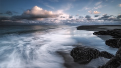 Winter Blues (Nick Twyford) Tags: longexposure sunset newzealand seascape beach clouds blacksand nikon waves wideangle nopeople auckland nz northisland westcoast lastlight whatipu coastallandscape colourimage leefilters 1024mm d7000 ninepinrock lee09nd lee06gndhard lee06gndsoft