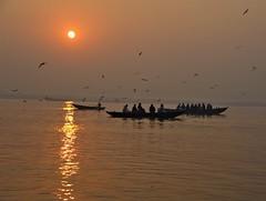 Boats at Sunrise (BrianRope) Tags: india sunrise river boats varanasi