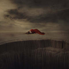waiting for rain (brookeshaden) Tags: art clouds photo sand stormysky sanddunes reddress fineartphotography conceptualphotography girlinreddress brookeshaden waterfallofsand