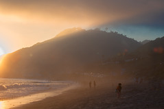 Wanderer (blueteeth) Tags: child beach shore ocean fog lowclouds seamist lowsun lensflare malibu