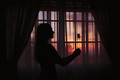 352/366: light is easy to love, show me your darkness (Andrea · Alonso) Tags: me selfportrait autorretrato 366 365 window ventana sunset atardecer portrait contrast contraste cortina curtain love amor ros rosa valentine sanvalentin valentinesday