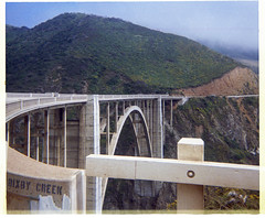 Bixby Creek Bridge at Big Sur Coast - 1967 (tonopah06) Tags: bixbycreek bixbycreekbridge stateroute1 california ca 1967 instamatic highway1 coast bigsur bridge highway