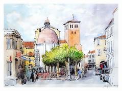Saint Sever - Aquitaine - France (guymoll) Tags: saintsever aquitaine france aquarelle watercolour watercolor église chirch village town