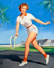 On the Tennis Court by William Medcalf (Tom Simpson) Tags: williammedcalf pinup woman sexy girl vintage art painting 1960s onthetenniscourt tennis tenniscourt