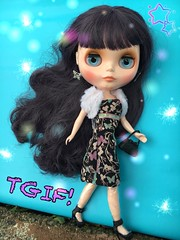 """""""Let's go girls!!!"""" Anna in Butterfly Barbie dress, shoes and older shrug. Her own earrings. (Painters Life) Tags: tgif barbiedress takara neoblythe blythe blytheadoresanna"""