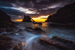 Fire and Ice (Augmented Reality Images (Getty Contributor)) Tags: canon cliffs clouds colours dawn landscape leefilters longexposure morayfirth portknockie rocks scotland sunrise water waves