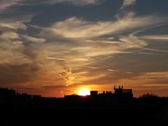 Sunset over the city (morganelafond) Tags: sunset coucher soleil coucherdesoleil orange ciel city ville sky buildings lyon france sun europe rhone