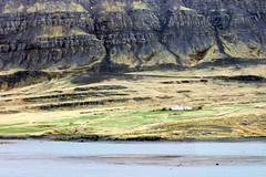 lonesome (kexi) Tags: iceland europe view landscape paysage mountain rocks erosion house red white green redroof lonesome water north canon may 2016 instantfave