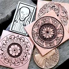 Beginner. hand-push engraving (tinkerSue at Tinkertown) Tags: handpushengraving silver copper engraving practice vangogh thescream smallengravings tinkersue mandala