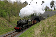 8274 exiting Barnstone tunnel (Andrew Edkins) Tags: 8fclass 8274 lms stanier barnstonetunnel gcrn greatcentralrailway 30742photocharter nottinghamshire england uksteam geotagged railwayphotography preservedrailway canon steamtrain steamlocomotive porthole tunnelmouth april 2017 spring goodstrain freighttrain light trees embankment 280 heritage vintage wagons sky