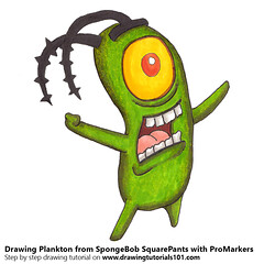 Plankton from SpongeBob SquarePants with ProMarkers (drawingtutorials101.com) Tags: plankton spongebob squarepants nickelodeon cartoon cartoons tv promarkers promarker marker alcohol markers draw drawing drawings color coloring how sketch
