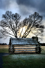 Light Dusting (Jen_Vee) Tags: winter huts valleyforge park clouds snow squall wind hdr